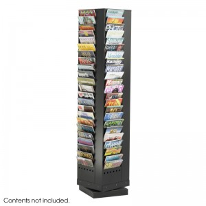 Safco 4325 Black 92-Pocket Steel Rotary Magazine Rack