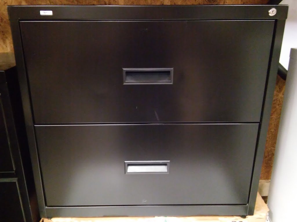 Lateral File Cabinet, 2 Drawer 30u2033 Black