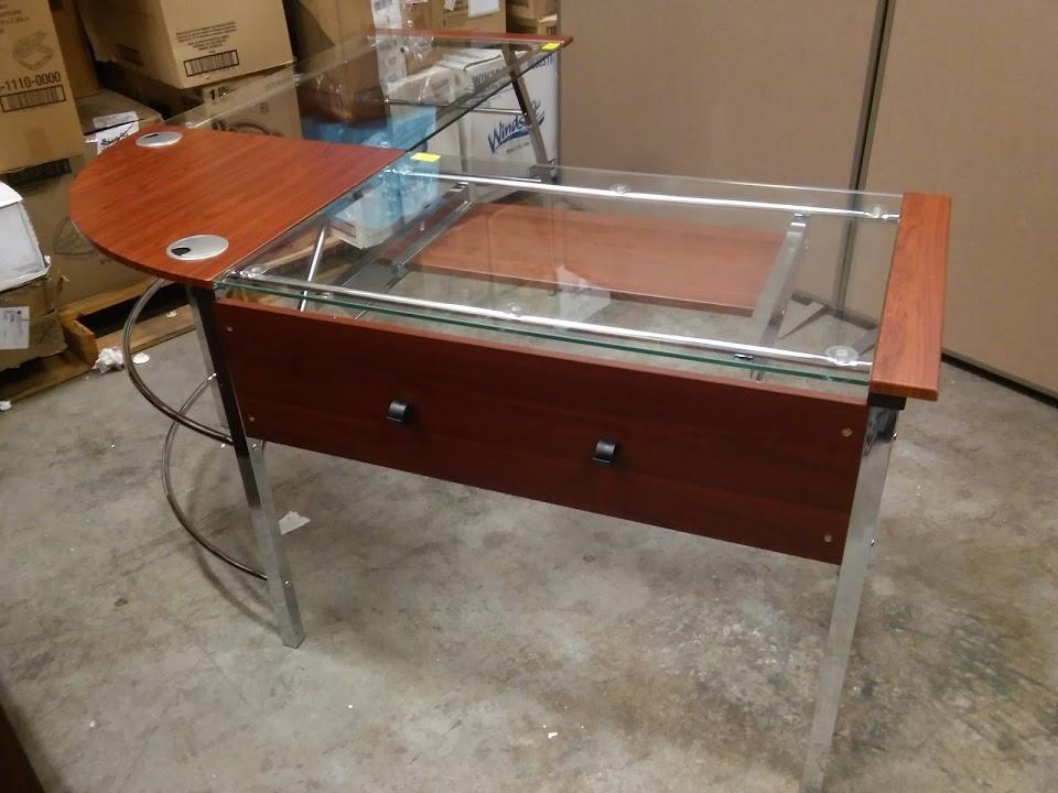 Mezza L Shaped Glass Computer Desk Cherry Chrome A M Office Supply