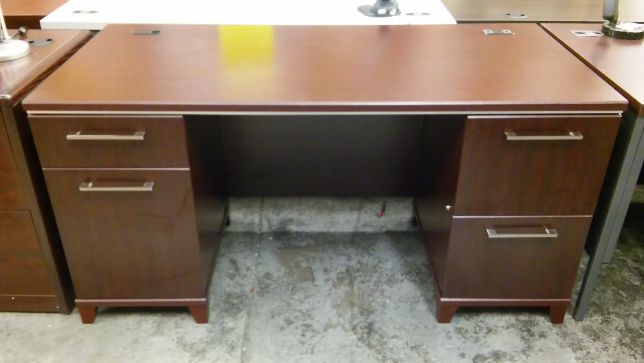 Warm Cherry Executive Desk Home Office Collection: Double Pedestal Executive Desk, Bush Enterprise Collection