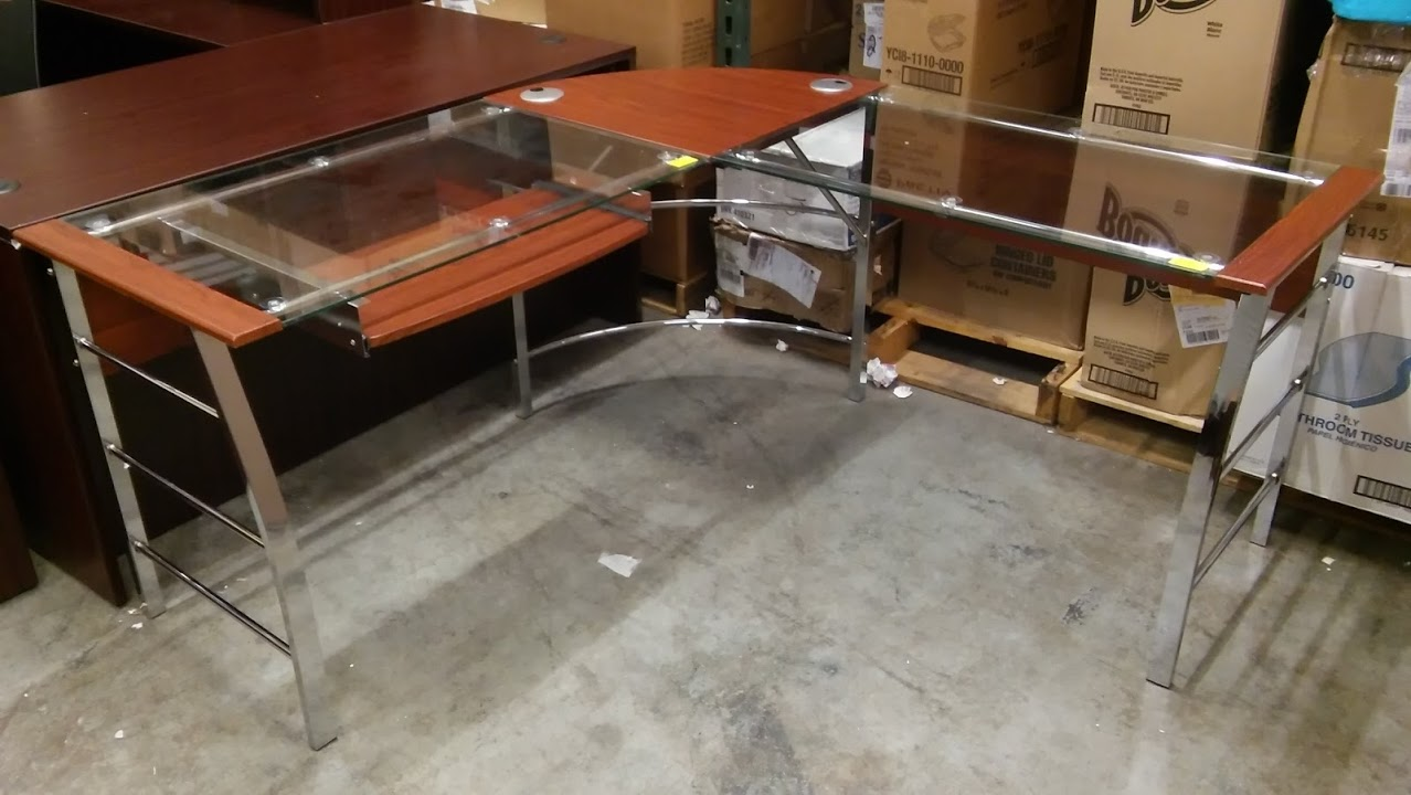 Mezza L Shaped Glass Desk Best Home Design 2018