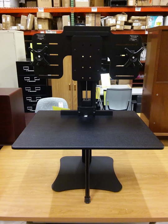 Dual Monitor Sit Or Stand Desk Converter Dc350 High Rise