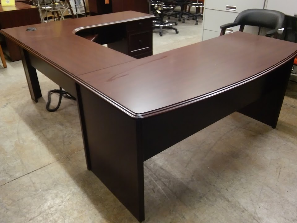 Cherry U Shaped Executive Workstation Desk Broadstreet By Realspace