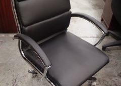 Alera Neratoli Mid-Back Modern Office Chair, Black Soft-Touch Leather & Chrome