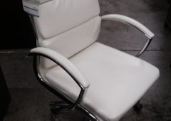 Alera Neratoli Mid-Back Modern Office Chair, White Faux Leather & Chrome