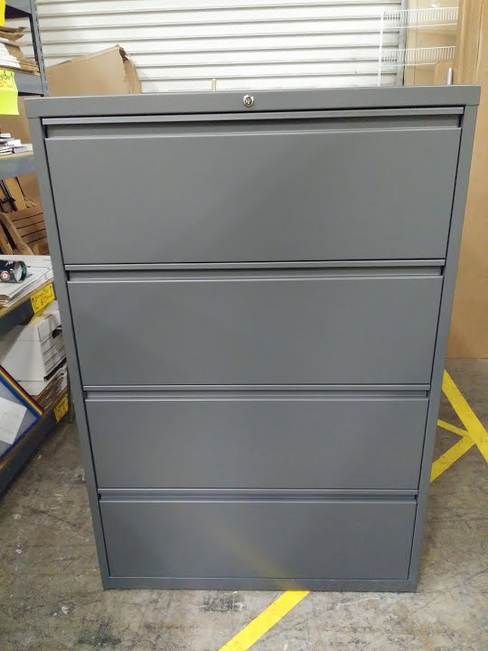 Lateral File Cabinet 4 Drawers 36 Wide Charcoal Grey