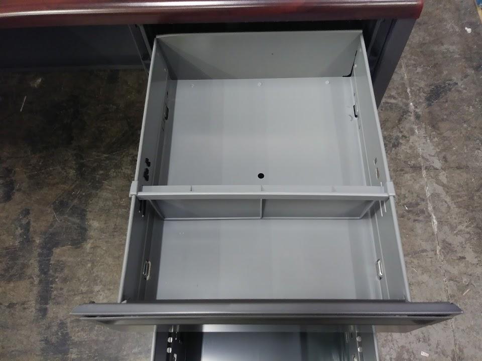 Hon Steel L Shaped Desk 38000 Series In Mahogany Charcoal
