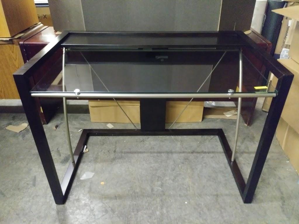 Z Line Designs Horizon Glass Top Desk W Monitor Shelf Espresso Finish