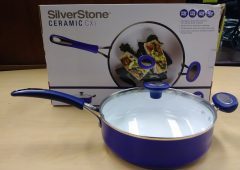SilverStone Ceramic Nonstick 4qt Covered Sauté Pan, Ocean Blue