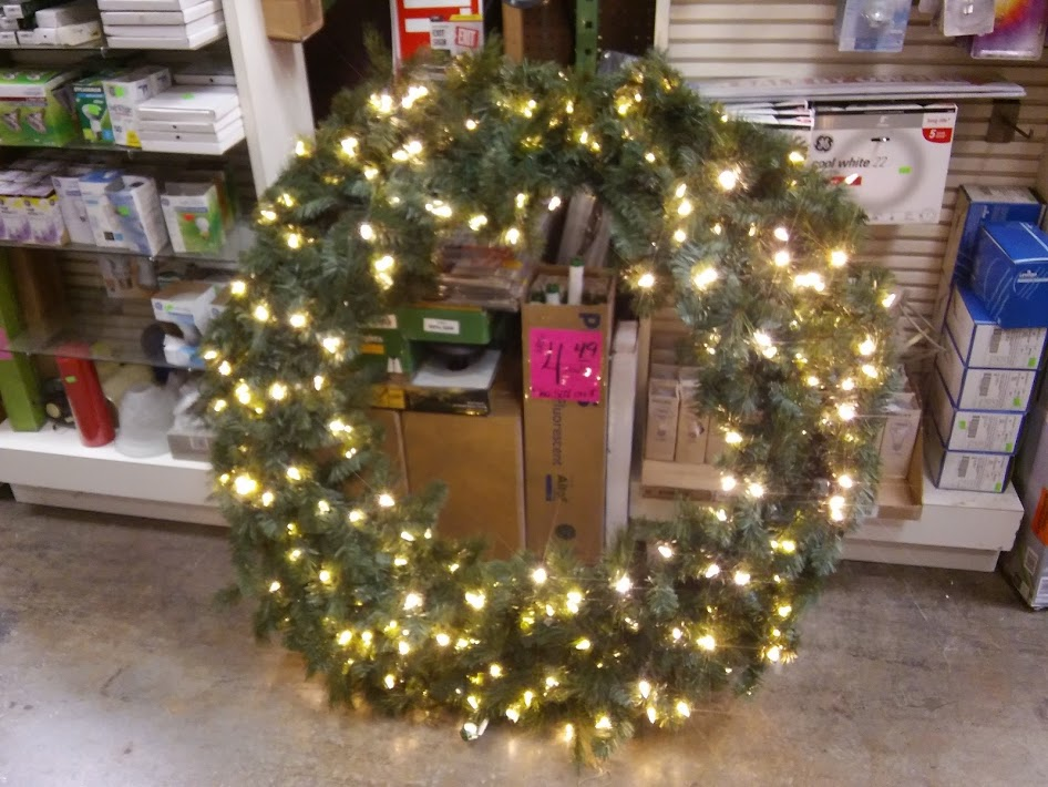 Home Accents Holiday 60in Pre-Lit LED Wesley Spruce Wreath