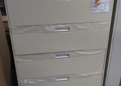 HON Lateral File 4-Drawer Cabinet, Letter/Legal, Brigade 600 Series in Putty