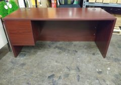 HON Commercial Desk, 10500 Series Left Pedestal Desk in Mahogany